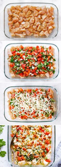 Salsa Fresca Chicken Bake – An incredibly delicious chicken dinner loaded with fresh flavors. This crazy good chicken bake with salsa Fresca is so quick and easy to make, with easy-to-find in… dinner recipes healthy Salsa Fresca Chicken Bake Healthy Baked Chicken, Yummy Chicken Recipes, Yum Yum Chicken, Sausage Recipes, Easy Dinner Recipes, Easy Recipes, Clean Eating Dinner Recipes, Dinner Ideas Healthy, Spinach Recipes