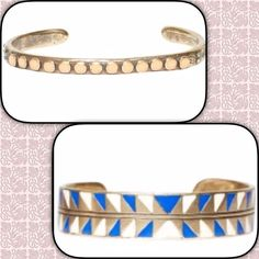 Dream Collective Blue/White Cuff Brass/Copper cuff bracelet originally $150. Cute tribal print and bright colors.   Never worn. sold on the Joie website. Comes in cloth baggie. Joie Jewelry