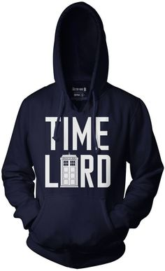 Doctor Who Time Lord Pullover Hoodie (Medium, Blue)
