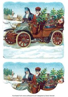 Decoupage envelope style card. Two Santa going for a ride.
