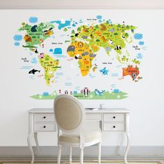 World map decal. Kids world map Wall Decal. Animals world map decal. Removable.