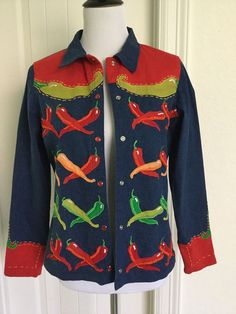 Michael Simon S stretch denim jacket snap front south western chili peppers #MichaelSimon #JeanJacket