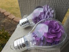 Purple Paper Flower Decorations Set of 2. Light by TreeTownPaper