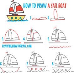 "How to Draw a Cartoon Sailboat from the Letter ""B"" Shape Easy Step by Step Drawing Lesson for Kids - How to Draw Step by Step Drawing Tutorials Funny Drawings, Doodle Drawings, Cartoon Drawings, Easy Drawings, Drawing Lessons For Kids, Art Lessons, Sailboat Drawing, How To Draw Steps, Simple Doodles"