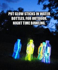 Glow sticks + water bottles = Nighttime bowling! #summer #diy