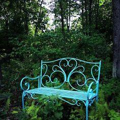 Blue bench in the woods. Wrought Iron Garden Furniture, Metal Garden Benches, Outdoor Garden Bench, Garden Chairs, Metal Chairs, Outdoor Decor, Wrought Iron Stairs, Wrought Iron Decor, Outside Living