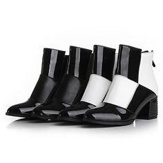 女性の靴利用できるジッパーより多くの色を持つラウンドつま先分厚いかかとパテントレザーのアンクルブーツ - JPY ¥ 4,545