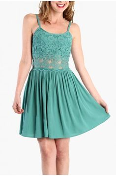 LoveMelrose.com From Harry & Molly | Embroidery Cut Out Dress - Mint