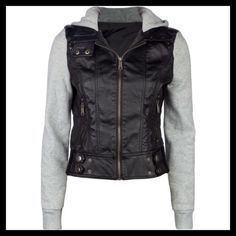 Leather Hoodie Jacket Condition: Brand New NWT Size: S-M (Tag says M) Brand: Full Tilt  Details:  -Faux leather hooded jacket -Zip front -Double snap button secures -Epaulets -Hand pockets with zip closures -Fleece hood and sleeves -100% polyurethane Photo 1 & 4 from Polyvore.com                     ⭐️HOST PICK⭐️ Full Tilt Jackets & Coats