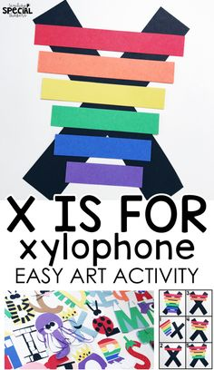 letter x craft x is for xylophone easy art letter craft for students with special needs or an early childhood pre-school classroom to work on fine motor tasks and step-by-step visual directions Preschool Letter Crafts, Alphabet Letter Crafts, Abc Crafts, Preschool Crafts, Letter Tracing, Alphabet Book, Animal Crafts, Alphabet Activities, Literacy Activities
