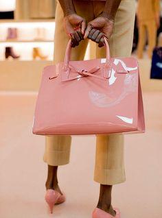 Mansur Gavriel Pink Patent Leather Bag | Designer Handbags