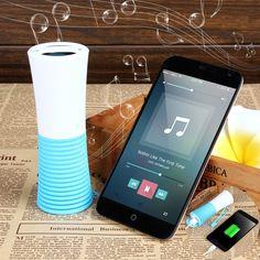 UHAPPY UT5 Waterproof Portable Bluetooth V3.0 Speaker 4000mAh Power Bank Microphone Hands-Free - White Blue