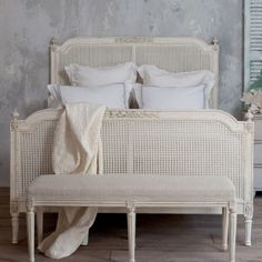 Eloquence Blanka Cane Antique White Bed  #laylagrayce #swedish #interiordesign