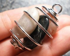 Silver Plated Coil Tumbled Stone, Bead, or Crystal Cage Setting Pendant Finding for DIY Gemstone Jewelry Making
