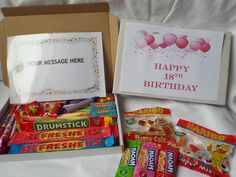 Retro Sweets Gift Box 18th Birthday GIRL FREE personalised message (45 sweets)  | eBay