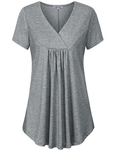 Misswor Womens Split V Neck Short Sleeve Loose Flare Tunic Tops with Center Pleats Dress Shirts For Women, Clothes For Women, Over 60 Fashion, Womens Trendy Tops, Modelos Plus Size, Stylish Dresses For Girls, Blouse And Skirt, Everyday Dresses, Curvy Outfits