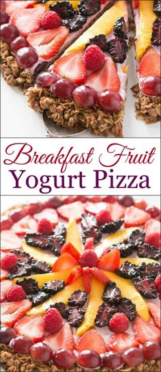 "This breakfast fruit and yogurt pizza has become one of our all time favorite recipes. Easy, crunchy granola, creamy mixed berry ""sauce"" and fruit! dessert via @ohsweetbasil"