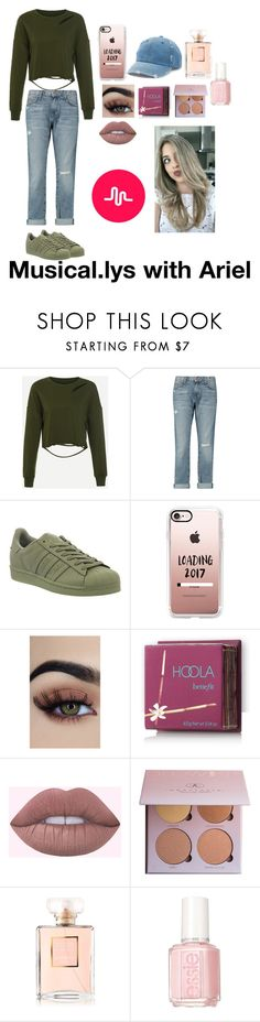 """""""Musical.lys with baby Ariel"""" by slaymyfashion ❤ liked on Polyvore featuring Current/Elliott, adidas, Casetify, Hoola, Chanel, Essie, Mudd, app, Musically and babyariel"""