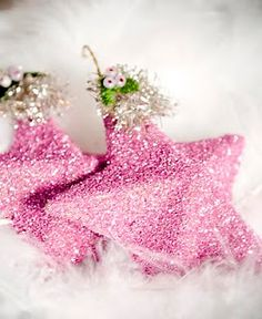 Christmas Glass Glitter Star Ornament - so easy with a paper mache' star and german glitter colors!