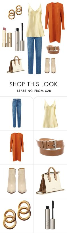 """Jeans + Cardigan"" by april-1884 ❤ liked on Polyvore featuring Khaite, Joseph, Miu Miu, Strathberry, Laura Lombardi, Ilia and Stila"