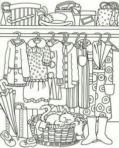 Clothing Coloring Page Spring Coloring Pages, Cat Coloring Page, Free Adult Coloring Pages, Coloring Pages To Print, Coloring Book Pages, Coloring For Kids, Printable Coloring Pages, Coloring Sheets, Buch Design