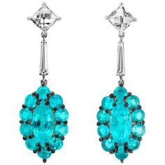 Leon Mege Couture Earrings Natural Brazilian Paraiba and French-Cut Diamonds For Sale at 1stDibs Be Natural, Antique Earrings, Baguette Diamond, Pearl Drop Earrings, Natural Gemstones, Turquoise Bracelet, Diamond Cuts, Bling, Pearls