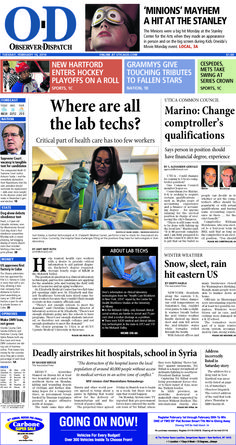 The front page for Tuesday, Feb. 16, 2016: Where are all the lab techs?
