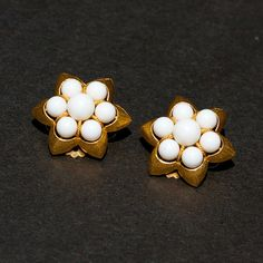 Vintage White Bead and Gold Tone Flower Clip by TwiceBakedVintage, $14.00