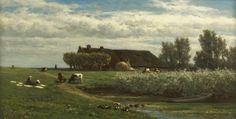 Willem Roelofs - Polderlandschap met boerin bij de bleek