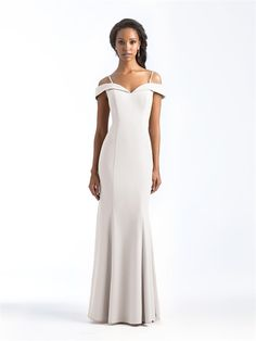 be08fd6b2a4cf Size 10 Ivory- Allure 1560 is an off the shoulder stretch crepe bridesmaid  gown that is both structured and soft, with supportive shoulder straps, ...