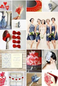 Slate & Cherry wedding theme.  Very fashionable color palette.