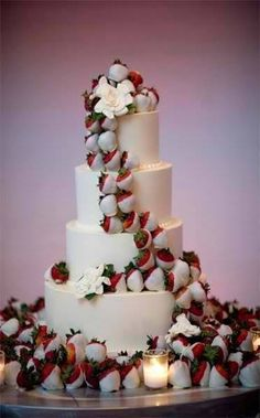 Wedding Cake with White Chocolate covered Strawberries