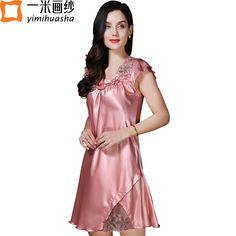 f1ab84840 silk satin sleepwear women babydoll sexy lace night wear lotus sleeve  V-neck women s night shirts home dress chemise de nuit