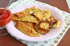 "Mama Grubbs Grub: Cauliflower ""Breadsticks"" same principle as pizza crust recipe.except crunchier , oh yum ! Medifast Recipes, Primal Recipes, Gluten Free Recipes, Low Carb Recipes, Whole Food Recipes, Cooking Recipes, Healthy Recipes, Protein Recipes, Pizza Recipes"