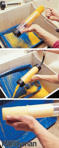Best way to clean roller covers - Secrets to Using and Preserving Paint Brushes and Rollers http://www.familyhandyman.com/painting/tips/secrets-to-using-and-preserving-paint-brushes-and-rollers/view-all#step5