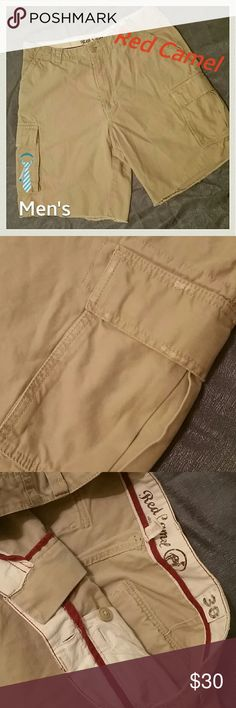 JUST IN! NWOT! Men's Semi-Distressed Cargo Shorts NEVER WORN. NWOT! Men's Red Camel Semi- Distressed Cargo Shorts. 2 large cargo pockets. 2 large back pockets, and 2 hand pockets. Semi- Distressed, Company made them this way. Some distressing on all pockets. Bottom hem appears raveled. It has been sewn so it can't ravel anymore. Perfect condition. No flaws! Size 38 Red Camel Is a Belk Brand high quality. Red Camel Shorts Cargo