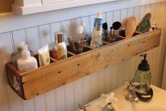 DIY Bathroom Organizer Ideas - Turn a divided box or CD Tower on its side and mount it on the wall as the greatest space saving organizer for your bathroom via Itsy Bits and Rv Bathroom, Bathroom Shelves, Bathroom Storage, Bathroom Ideas, Master Bathroom, Bath Shelf, Bathroom Hacks, Bathroom Mirrors, Budget Bathroom