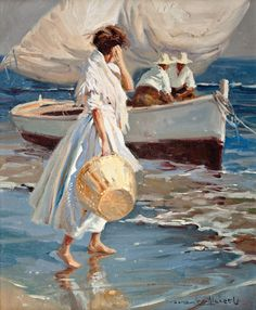 Juan González Alacreu Tis beautifully crafted painting i was sure must be a Sorolla, but no. Paintings I Love, Beautiful Paintings, Art And Illustration, Figure Painting, Painting & Drawing, Arte Inspo, Art Moderne, Fine Art, Aesthetic Art