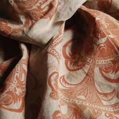Handprinted and handsewn linen scarf Linocut Prints, Linen Fabric, Hand Sewing, Printing On Fabric, Hand Carved, I Shop, Carving, Etsy Shop, Sewing By Hand