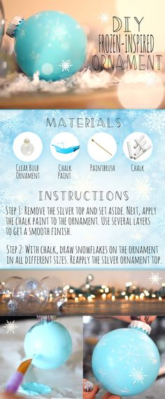 Frozen Ornament DIY -- making Frozen ornaments the perfect giveaway and thank you! or invitation to Frozen inspired party.