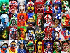 This composite image shows a fan of each 32 national teams taking part in the 2014 World Cup starting on June 12 2014 in Brazil