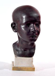 Jollo Domenico (Napoli 1866 - notizie 1892 /1900) testa di fanciullo bronzo h cm 26 firmato sul retro: D.Jollo