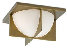 Lucas - Two Light Flush Mount Antique Brass Finish with Opaque White Glass Brass Ceiling Light, Metal Ceiling, Flush Ceiling Lights, Flush Mount Lighting, Flush Mount Ceiling, Lucas 2, Smart Lights, Glass Diffuser, Light Fixtures