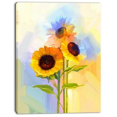 DesignArt 'Yellow Sunflowers with Green Leaves' Painting Print on Wrapped Canvas Size: