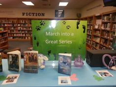 March into a great series Display. with pictures of the books and labels letting readers know what order the series goes in.