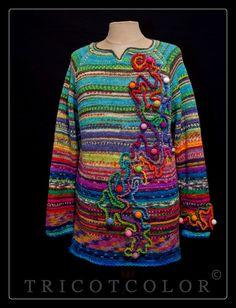 """Pull raglan Tricotcolor tricoté en pure laine """" Jeu de billes """""""