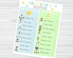 Toddler Boy Daily Routine Chart Checklist-Printable Morning & Bedtime Chart-Download Print-Blue and Green Motivation for Wake Up and Sleep