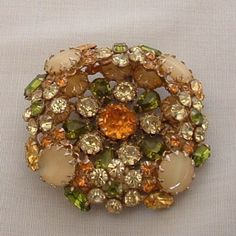 Vintage Rhinestone Pin Brooch by Schreiner - Green Yellow