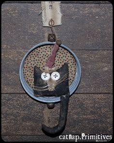 Shadow Box Mini Cat Thinks He's Santa Catnap Primitives | eBay