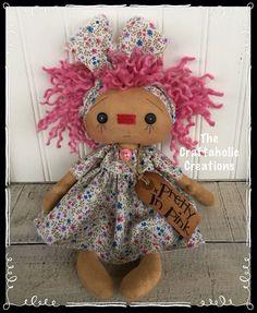 * Primitive RAGGEDY ANN doll * ragdoll ** PRETTY IN PINK ** Spring flowers #NaivePrimitive